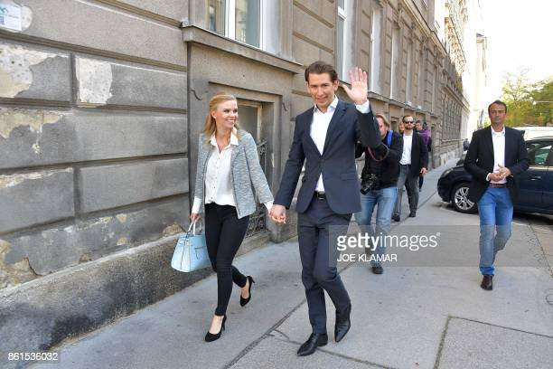 TOPSHOT Austria's Foreign Minister and leader of Austria's centreright People's Party Sebastian Kurz and his partner Susanne Thier are pictured in...