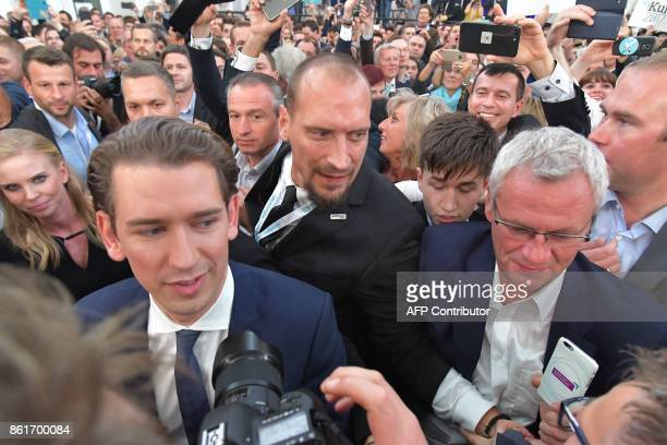 Austria's Foreign Minister and leader of Austria's centreright People's Party Sebastian Kurz arrives to attend the party's election event following...