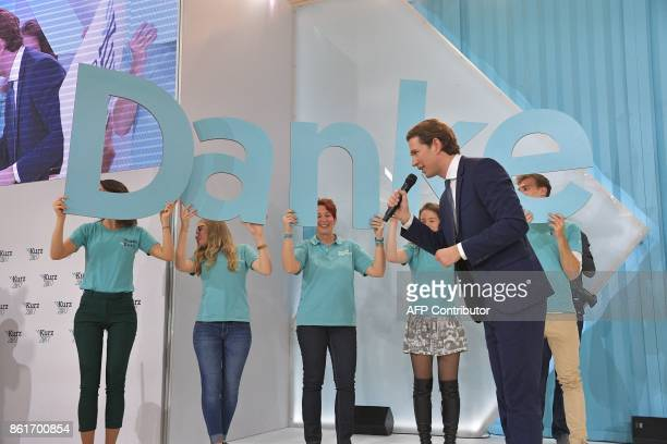Austria's Foreign Minister and leader of Austria's centreright People's Party Sebastian Kurz speeks to supporters during the party's election event...