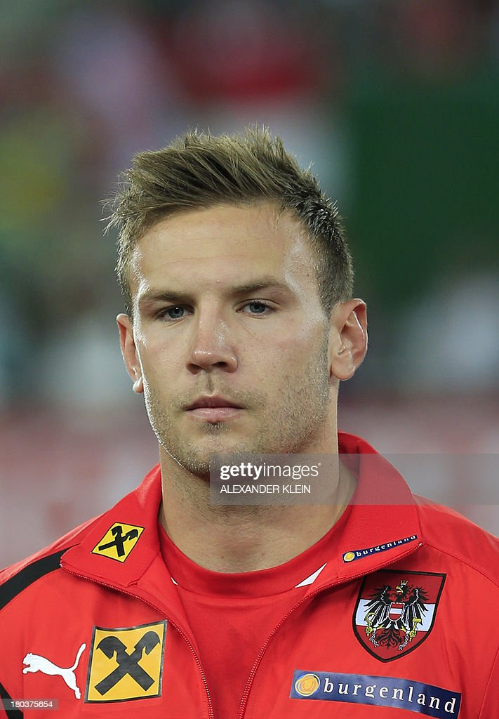 Austria's forward Andreas Weimann listens to the national anthems ahead of the FIFA 2014 World Cup Group C qualifying football match Austria vs Republic of Ireland, on September 10, 2013, at the Ernst Happel Stadium, in Vienna. Austria won 1-0.