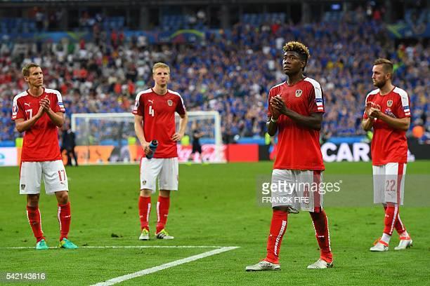 Austria's forward Marko Arnautovic Austria's defender Martin Hinteregger Austria's midfielder David Alaba and Austria's midfielder Jakob Jantscher...