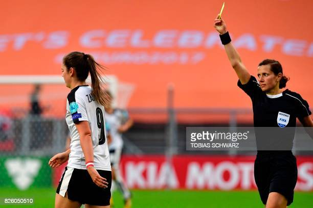 Austria's forward Sarah Zadrazil receives a yellow car from Urkainian referee Kateryna Monzul during the UEFA Womens Euro 2017 football tournament...