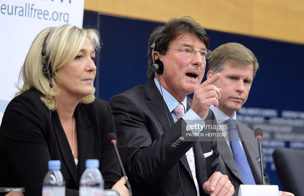 Austria's Franz Obermayr (C), member of Austrian Freedom Party, France's Marine Le Pen (L), President of French far-right party Front National (FN) and Belgium's Philip Claeys, member of Vlaams Belang party, give a joint press conference about the European Alliance for Freedom (EAF), a pan-European alliance of MEPs and MPs from national and regional parliaments, during a plenary session of the European parliament, in Strasbourg, eastern France, on November 21, 2012.