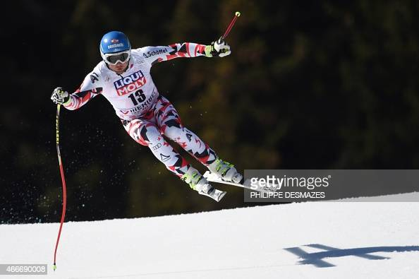 Austria's Georg Streitberger competes in the Men's downhill at the FIS Alpine Skiing World Cup finals in Meribel on March 18 2015 AFP PHOTO /...