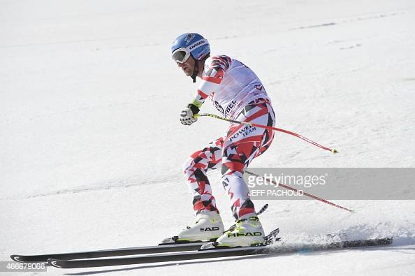 Austria's Georg Streitberger reacts after the Men's downhill at the FIS Alpine Skiing World Cup finals in Meribel on March 18 2015 AFP PHOTO / JEFF...