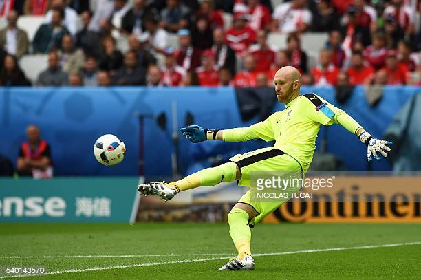 Austria's goalkeeper Robert Almer kicks the ball during the Euro 2016 group F football match between Hungary and Austria at the Matmut Atlantique...