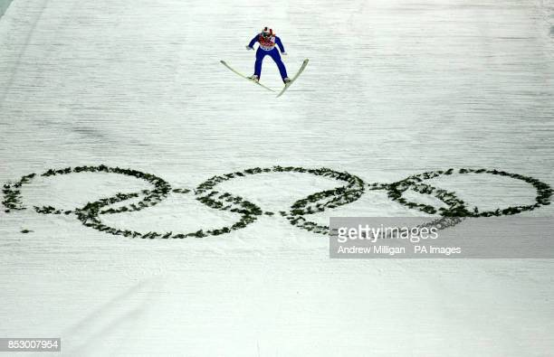 Austria's Gregor Schlierenzauer during a jump prior to the Mens Normal Hill Individual Qualification Round at the RusSki Gorki Jumping Center on day...