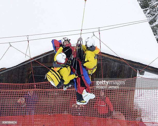 Austria's Hannes Reichelt is evacuated by medical in a helicopter after crashing during the men's downhill race of the FIS Alpine Skiing World Cup in...