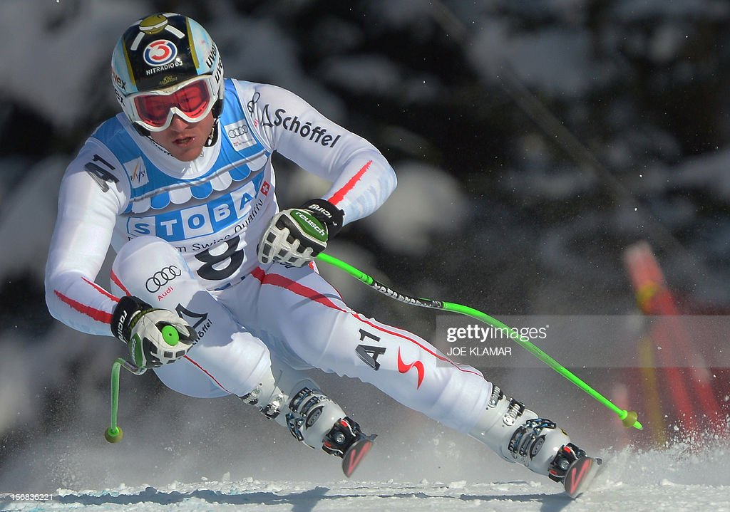 Austria's Hannes Reichelt skis during the downhill practice for the Alpine Skiing World Cup in Lake Louise, Canada on November 22, 2012.