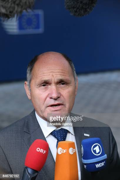 Austria's Interior Minister Wolfgang Sobotka speaks to media ahead of the European Justice and Home Affairs Council in Brussels Belgium on September...