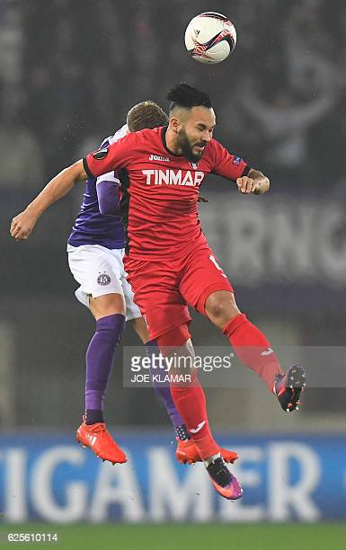 FK Austria's Jens Stryger Larsen vies for the ball with FC Astra's Junior Morais during the UEFA Europa League group E football match between Austria...