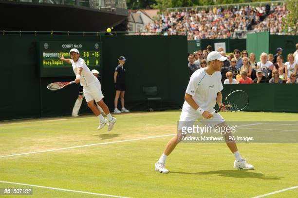 Austria's Jurgen Melzer and USA's James Blake during a doubles against Great Britain's Jamie Murray and Australia's John Peers at day six of the...