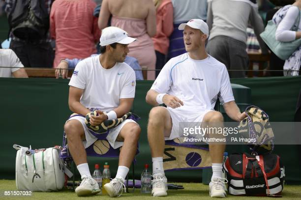 Austria's Jurgen Melzer and USA's James Blake during a doubles match against Great Britain's Jamie Murray and Australia's John Peers at day six of...