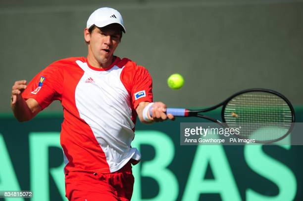 Austria's Jurgen Melzer in action against Great Britain's Alex Bogdanovic during the Davis Cup World Group PlayOffs at The All England Lawn Tennis...
