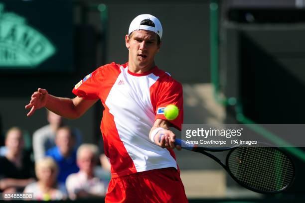 Austria's Jurgen Melzer in action against Great Britain's Alex Bogdanovic during the Davis Cup World Group PlayOffs
