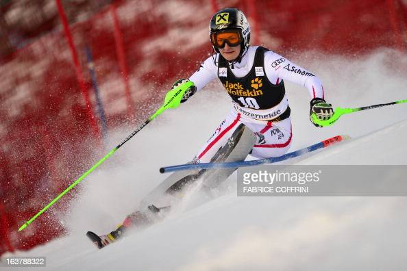 Austria's Kathrin Zettel competes during the Women Slalom race at the Alpine ski World Cup finals on March 16 2013 in Lenzerheide AFP PHOTO / FABRICE...