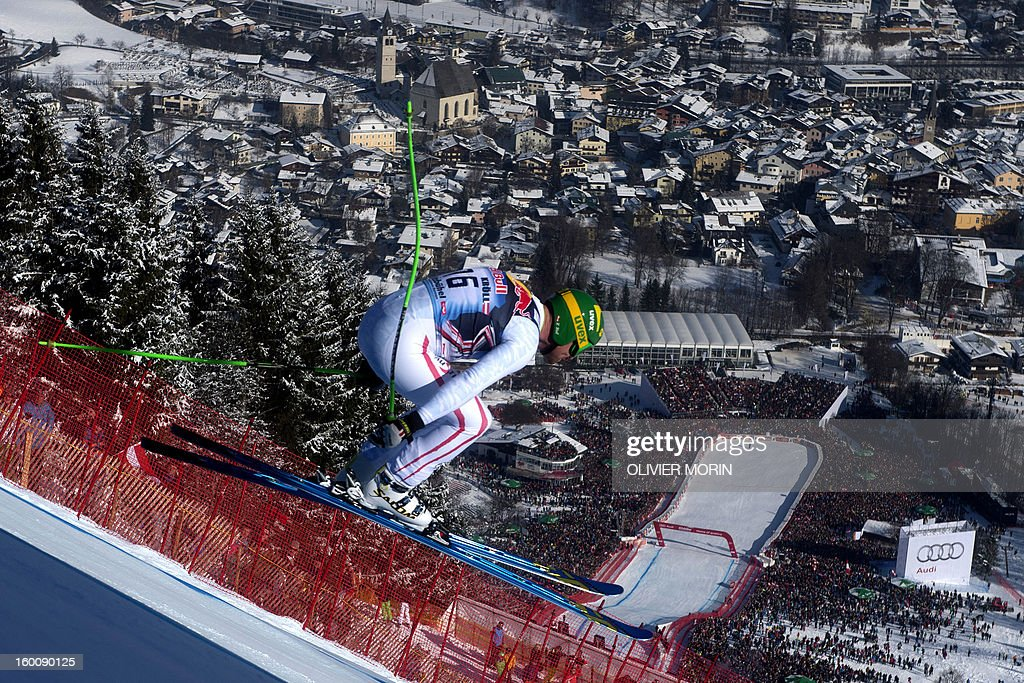Austria's Klaus Kroell competes during the FIS World Cup men's downhill race on January 26, 2013 in Kitzbuehel, Austrian Alps. Italy's Dominik Paris won the event, Canada's Erik Guay finished second and Austria's Hannes Reichelt third