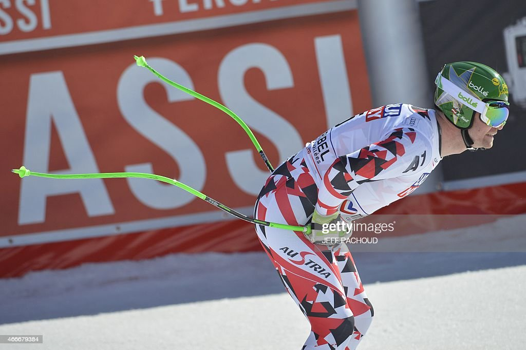 Austria's Klaus Kroell reacts after the Men's downhill at the FIS Alpine Skiing World Cup finals in Meribel on March 18, 2015.