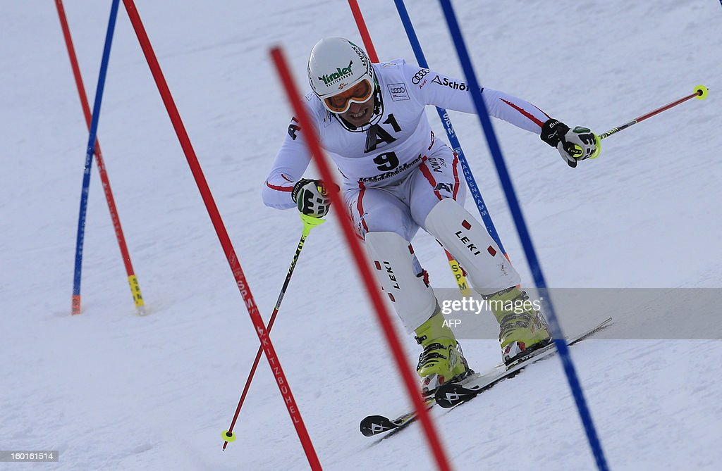 Austria's Manfred Pranger competes during the second run of the FIS World Cup men's slalom race on January 27, 2013 in Kitzbuehel, Austrian Alps. Austrian Marcel Hirscher won the race, German Felix Neureuther placed second and Croatian Ivica Kostelic placed third.