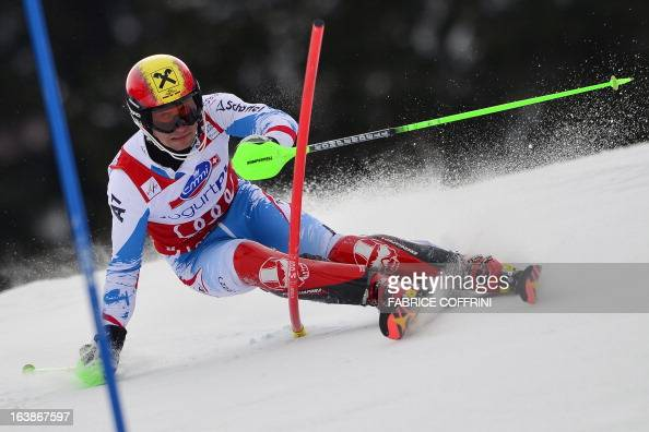 Austria's Marcel Hirscher competes during the Men Slalom race at the Alpine ski World Cup finals on March 17 2013 in Lenzerheide AFP PHOTO / FABRICE...