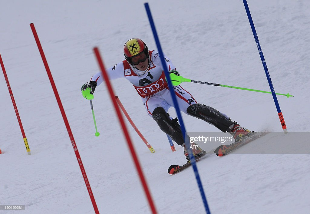 Austria's Marcel Hirscher competes during the second run of the FIS World Cup men's slalom race on January 27, 2013 in Kitzbuehel, Austrian Alps. Austrian Marcel Hirscher won the race, German Felix Neureuther placed second and Croatian Ivica Kostelic placed third. AFP PHOTO / ALEXANDER KLEIN