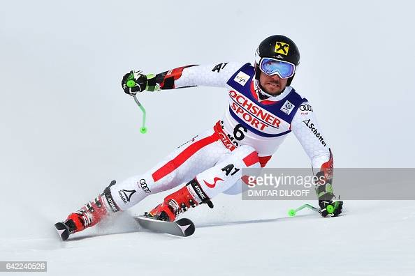 TOPSHOT Austria's Marcel Hirscher competes in the first run of the men's giant slalom race at the 2017 FIS Alpine World Ski Championships in St...