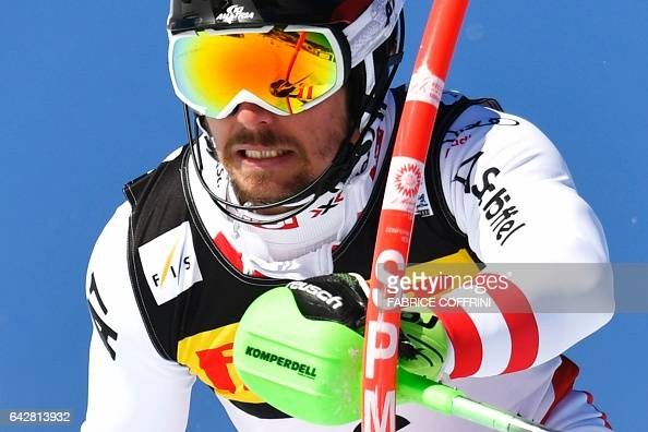 TOPSHOT Austria's Marcel Hirscher competes in the first run of the men's slalom race at the 2017 FIS Alpine World Ski Championships in St Moritz on...