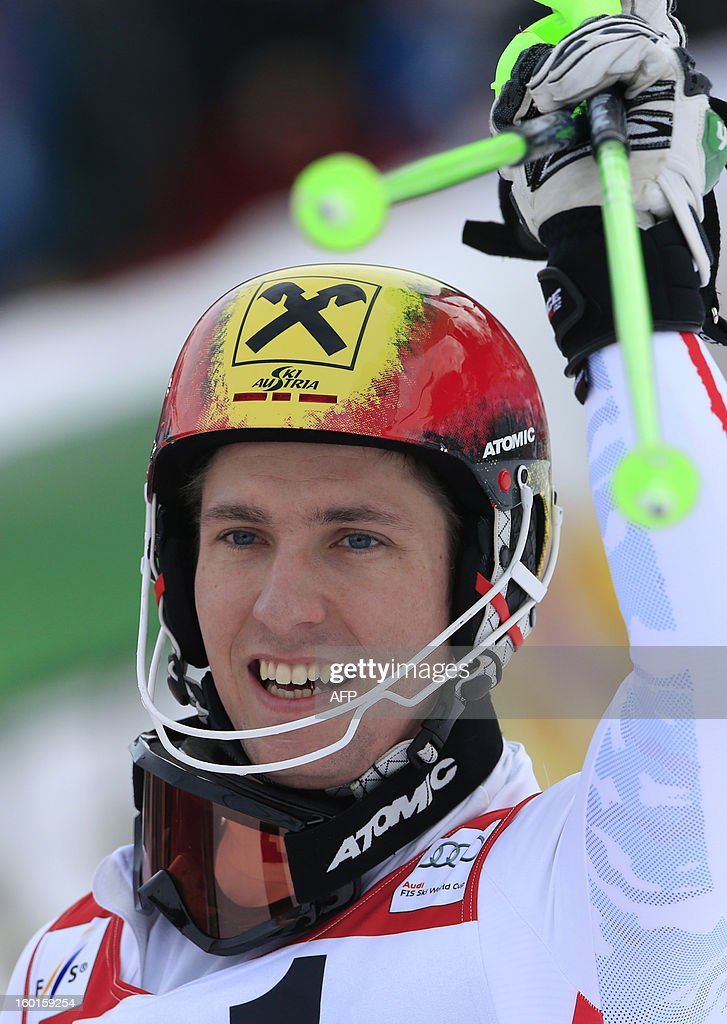Austria's Marcel Hirscher reacts after competing at the second run of the FIS World Cup men's slalom race on January 27, 2013 in Kitzbuehel, Austrian Alps. Austrian Marcel Hirscher won the race, German Felix Neureuther placed second and Croatian Ivica Kostelic placed third.