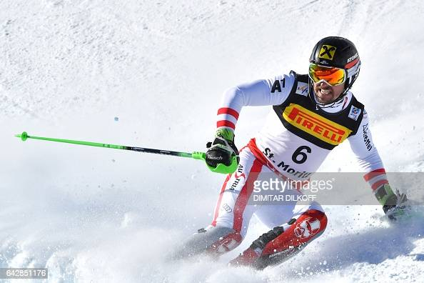 TOPSHOT Austria's Marcel Hirscher reacts in the finish area after the second run of the men's slalom race at the 2017 FIS Alpine World Ski...