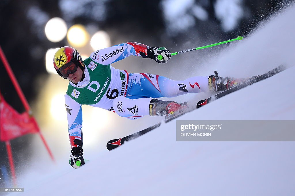 Austria's Marcel Hirscher skis during the first run of the men's Giant slalom at the 2013 Ski World Championships in Schladming, Austria on February 15, 2013.