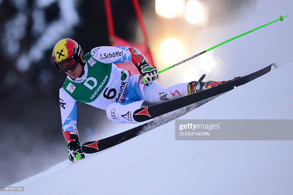 Austria's Marcel Hirscher skis during the first run of the men's Giant slalom at the 2013 Ski World Championships in Schladming, Austria on February 15, 2013. AFP PHOTO / OLIVIER MORIN