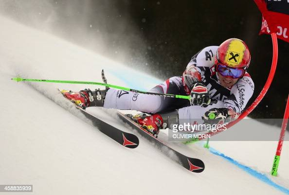 Austria's Marcel Hirsher competes during the 1st leg of the Alpine World Cup Men's Giant Slalom on December 22 2013 in Alta Badia AFP PHOTO / OLIVIER...