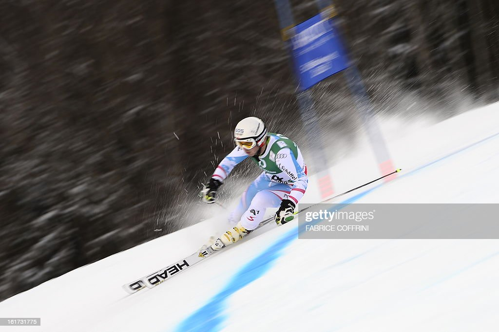 Austria's Marcel Mathis skis during the first run of the men's Giant slalom at the 2013 Ski World Championships in Schladming, Austria on February 15, 2013.