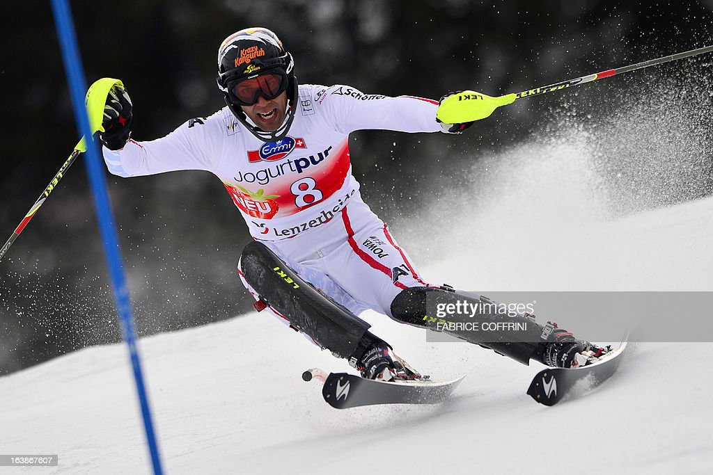Austria's Mario Matt competes during the Men Slalom race at the Alpine ski World Cup finals on March 17, 2013 in Lenzerheide.