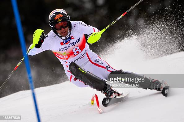 Austria's Mario Matt competes during the Men Slalom race at the Alpine ski World Cup finals on March 17 2013 in Lenzerheide AFP PHOTO / FABRICE...