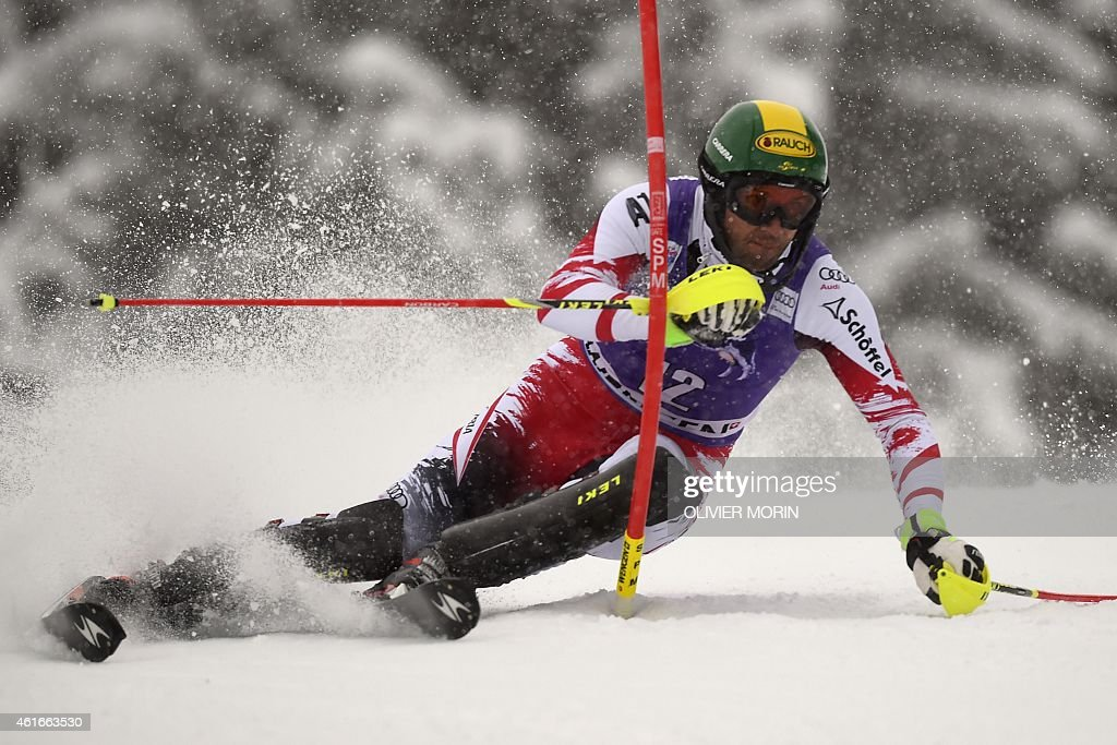 Austria's <a gi-track='captionPersonalityLinkClicked' href=/galleries/search?phrase=Mario+Matt&family=editorial&specificpeople=816226 ng-click='$event.stopPropagation()'>Mario Matt</a> competes in the FIS Ski World Cup Men's Slalom in Wengen on January 17, 2015.