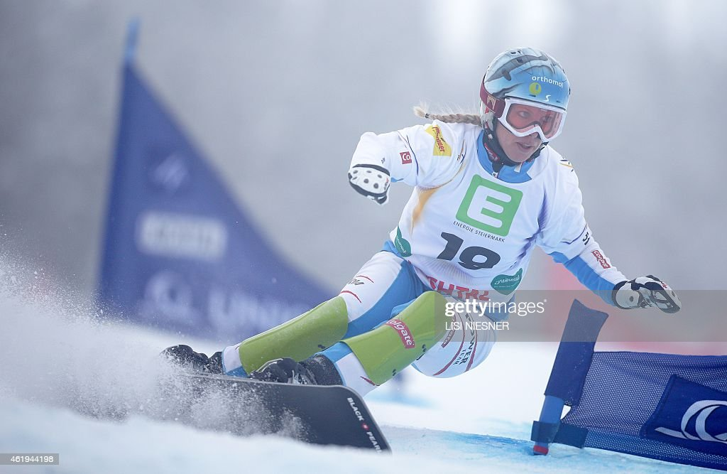 Austria's <a gi-track='captionPersonalityLinkClicked' href=/galleries/search?phrase=Marion+Kreiner&family=editorial&specificpeople=3071138 ng-click='$event.stopPropagation()'>Marion Kreiner</a> competes during the Men's Snowboard Parallel Slalom qualification at the FIS Freestyle and Snowboarding World Ski Championships 2015 in Lachtal near Kreischberg, Austria on January 22, 2015.