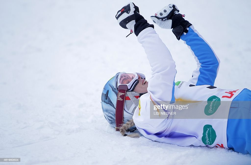 Austria's <a gi-track='captionPersonalityLinkClicked' href=/galleries/search?phrase=Marion+Kreiner&family=editorial&specificpeople=3071138 ng-click='$event.stopPropagation()'>Marion Kreiner</a> reacts after placing third at the Women's Snowboard Parallel Slalom Finals at the FIS Freestyle and Snowboarding World Ski Championships 2015 in Lachtal near Kreischberg, Austria on January 22, 2015.