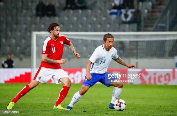Austria's Martin Harnik and Finland's Moshtagh Yaghoubi vie for the ball during the friendly football match between Austria and Finland in Innsbruck...