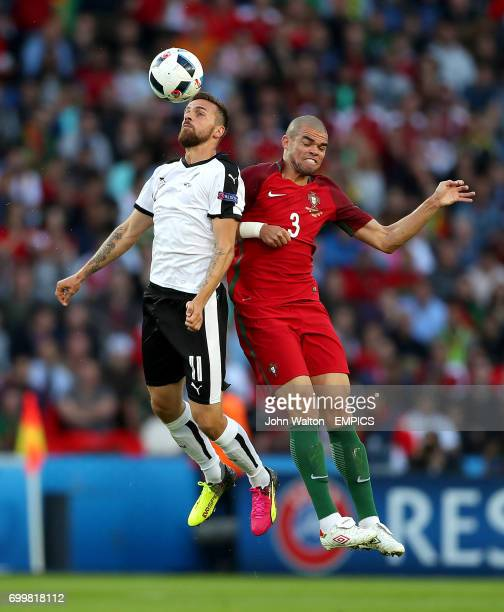 Austria's Martin Harnik and Portugal's Pepe battle for the ball