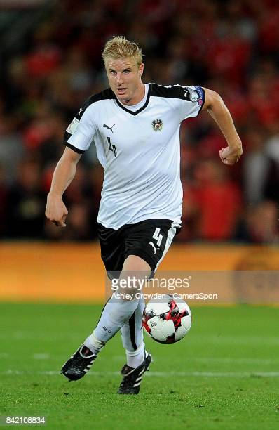 Austrias Martin Hinteregger during the FIFA 2018 World Cup Qualifier between Wales and Austria at Cardiff City Stadium on September 2 2017 in Cardiff...
