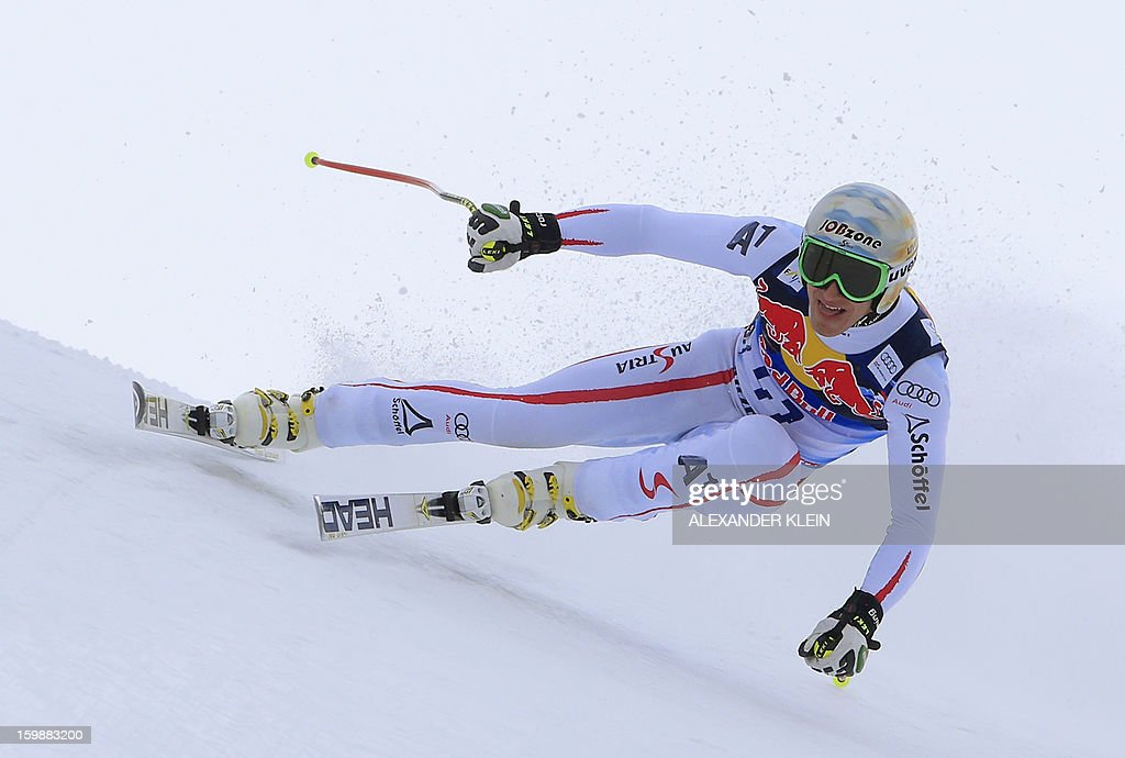 Austria's Matthias Mayer competes during the men's downhill training session at the 73rd edition of the KitzbuehelHahnenkamm race as part of the 2013...
