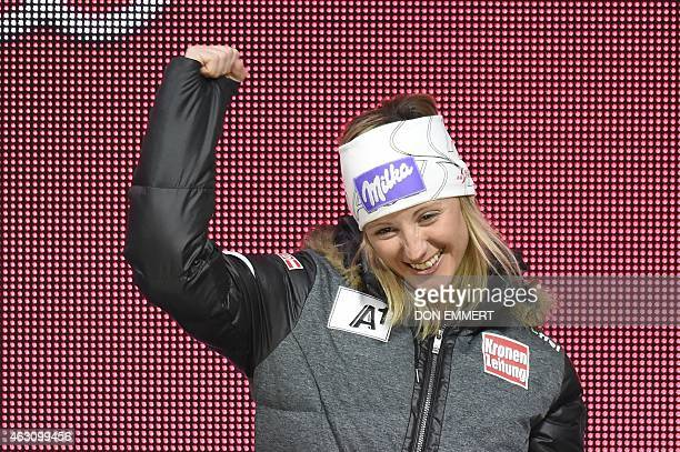 Austria's Michaela Kirchgasser celebrates her third place during the medal ceremony of the 2015 World Alpine Ski Championships women's combined on...
