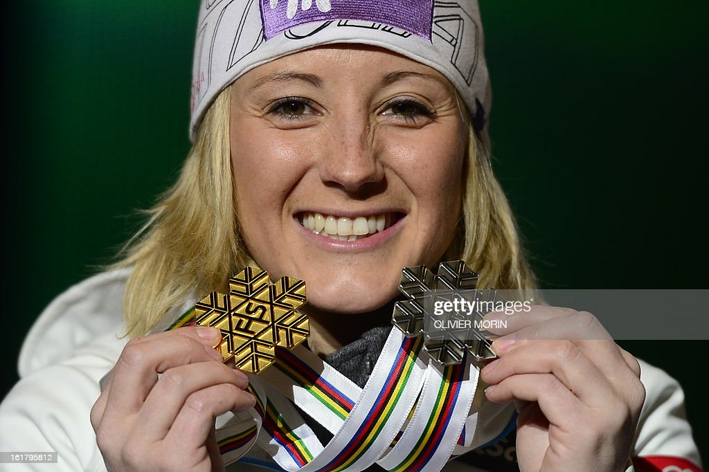 Austria's Michaela Kirchgasser poses with her silver medal during the medal awards ceremony after the women's slalom at the 2013 Ski World Championships in Schladming, Austria on February 16, 2013.