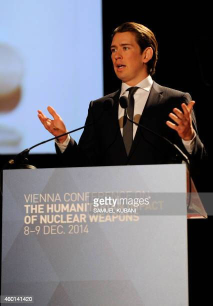Austria's Minister for Foreign Affairs and Integration Sebastian Kurz speaks at the International conference on the humanitarian impact of nuclear...