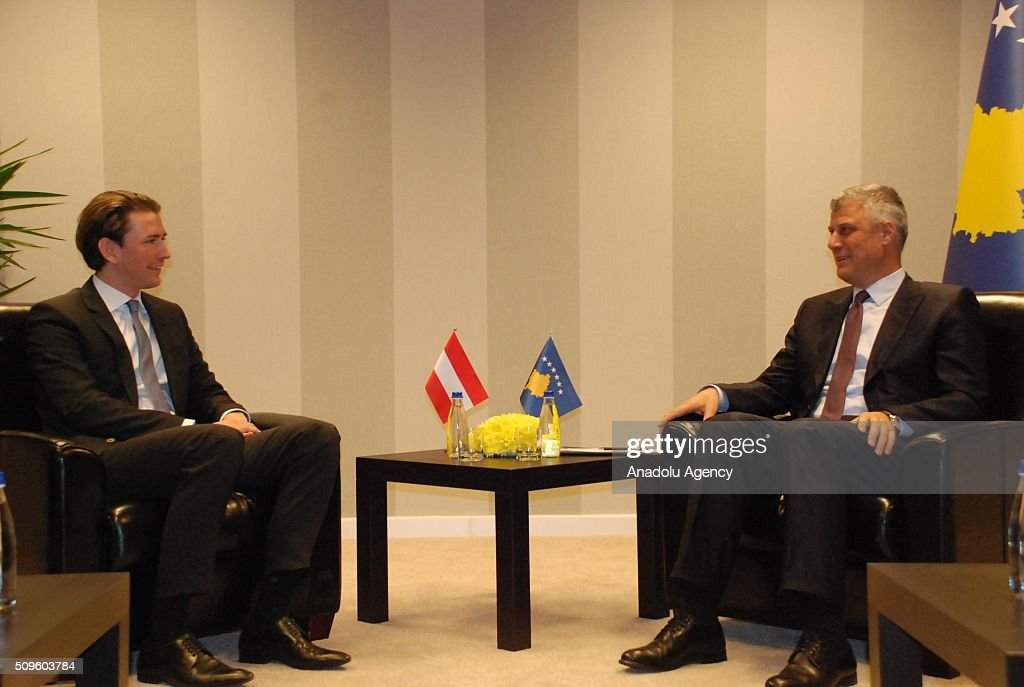 Austria's Minister for Foreign Affairs and Integration Sebastian Kurz (L) meets with Foreign Minister and Deputy Prime Minister of Kosovo Hashim Thaci (R), in Pristina, Kosovo on February 11, 2016.