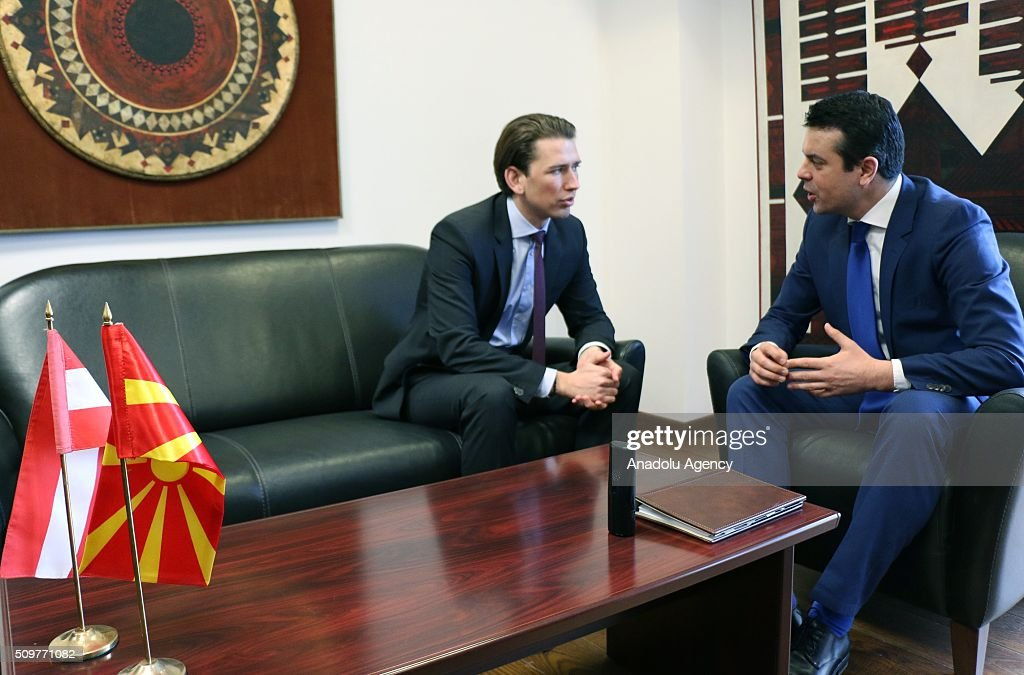 Austria's Minister for Foreign Affairs and Integration Sebastian Kurz (L) and Macedonian Foreign Minister Nikola Poposki (R) speak to each other during their meeting in Skopje, Macedonia on February 12, 2016.