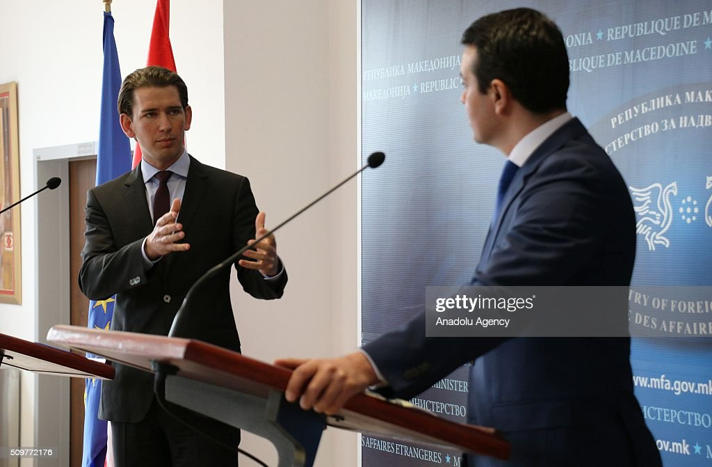 Austria's Minister for Foreign Affairs and Integration Sebastian Kurz (L) and Macedonian Foreign Minister Nikola Poposki (R) hold a press conference after their meeting in Skopje, Macedonia on February 12, 2016.