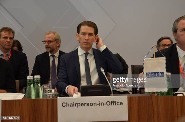 Austria's Minister for Foreign Affairs and Integration Sebastian Kurz delivers a speech before the Organization for Security and Cooperation in...
