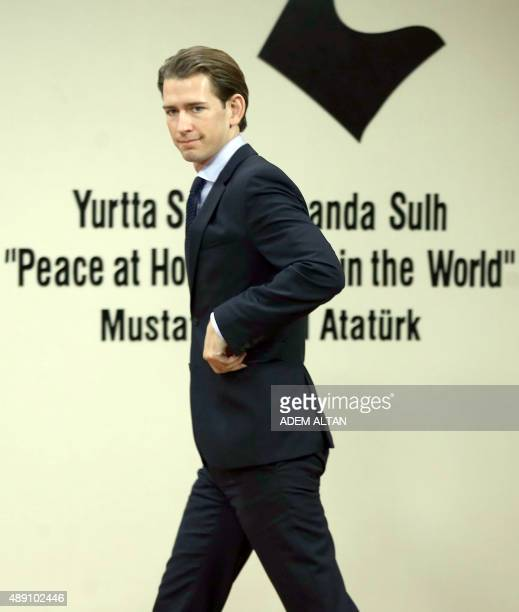 Austria's Minister for Foreign Affairs Sebastian Kurz arrives for a joint press conference with Turkey's Foreign Minister Feridun Sinirlioglu in...